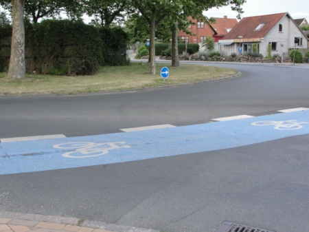 Roundabout with bike and vehicle lanes in Odense, Denmark.