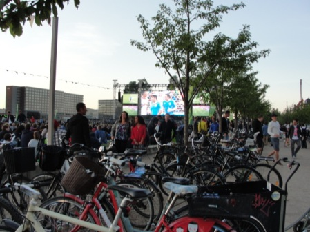 Bikes at an outdoor screening of the World Cup in Copenhagen.