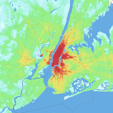 Accessibility map of New York City. Darker colors indicate that more jobs are accessible by transit within 30 minutes.