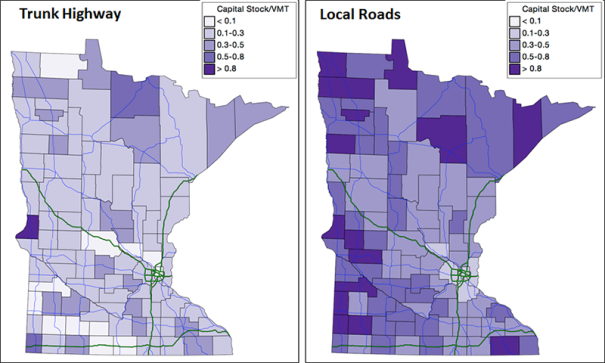 Transportation Capital Stock Per VMT in Minnesota Counties ($/Mile)