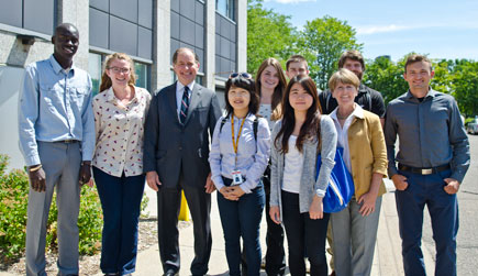 2015 summer interns with MnDOT commissioner Charles Zelle and CTS director Laurie McGinnis