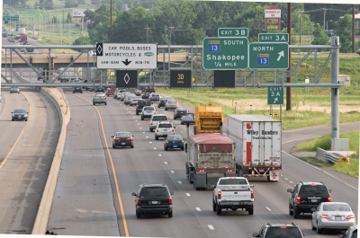 Trucks in highway traffic