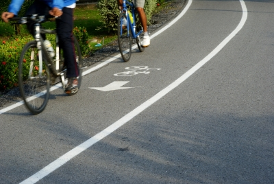 Bicyclists riding in a bike lane