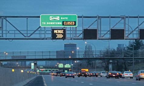 Stock image. MnPASS, I-35W, Minneapolis, Minnesota.