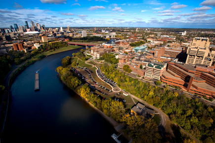 Aerial view of the University of Minnesota Twin Cities campus and the Mississippi River