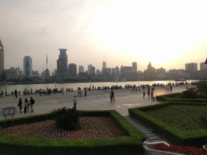 Looking across the Bund in Shanghai
