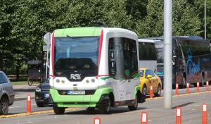A driverless bus on a city street